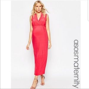 ASOS Maternity Double Strap Maxi Dress (Coral)